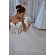 Latest Gowns Alibaba Elegant Pearls White Ball Gown ruffle Wedding Dresses Vestidos de Novia 2016 LW257
