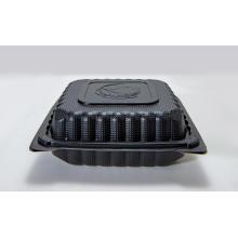 8 '' Einweg-mikrowellengeeigneter schwarzer Kunststoff-Lebensmittelbehälter