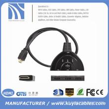 Haute qualité! 3 Port 1080P 3D HDMI AUTO commutateur Commutateur Splitter Hub avec câble sans frais de livraison