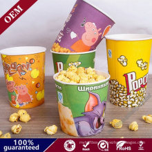 Hot Selling Custom Printing Single Wall Disposable Popcorn Bucket Paper Cup