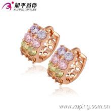 Mais recente moda charme cristal cz rosa banhado a ouro jóias rodada argola brinco - 29234