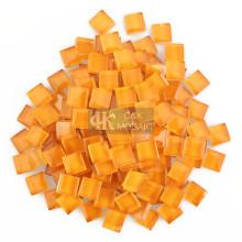 Peças de vidro laranja de 1 CM para arte de plantador de mosaico
