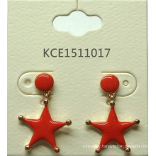 Red Star Earrings with Metal Fashion Jewelry