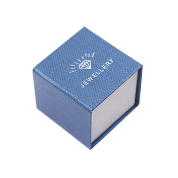 Custom Blue Cardboard Jewelry Ring Boxes