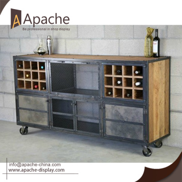 New Vintage american style wine display free standing metal shelves