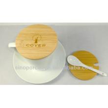 Caneca de café de cerâmica com colher, chapa e tampa de bambu para BS140122B