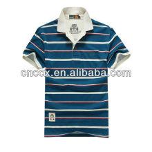 13PT1033 Men's white collar stripped new custom polo shirt design