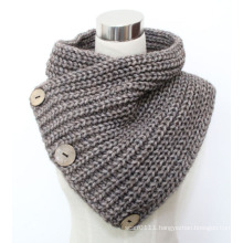 Lady Fashion Coconut Button Wool Acrylic Knitted Scarf (YKY4385)