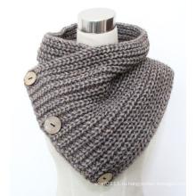 Леди мода кнопку кокосовое шерсть акрил вязаный шарф (YKY4385)