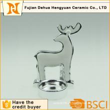 Plating Ceramic Deer forma titular de la vela para la decoración de Navidad