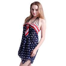 2017 vacation wear comfortable American flag chiffon beach stole shawl scarf
