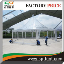 2015 spätestes Artpagodenzelt mit freiem Dachabdeckung, transparentes PVC-Gewebehexagon-Pagodenzelt