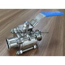 Válvula de esfera de superfície brilhante da braçadeira Ss304 / Ss316 3PC