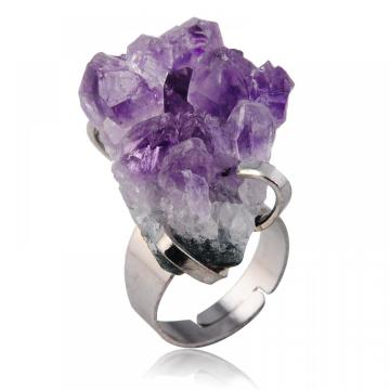 Natural Drusy Amethyst Gemstone rings