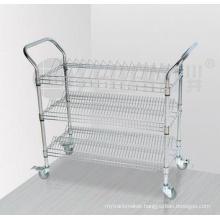 3 Tiers Chrome Metal Wire Storage Shelf Trolley with Upper Handle