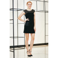 Solid Drop Shoulder Mini Dress with Lace York and Patch Pocket