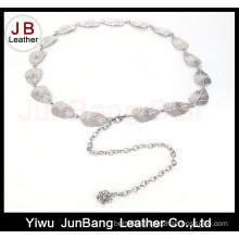 Metal Belt Gold-Tone with Leaf Shape Links Chain Belt
