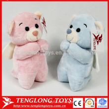 Par de bodas de oso de color rosa y azul peluche peluche oso de juguete