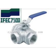 Válvula de bola sanitaria de acero inoxidable de 3 vías