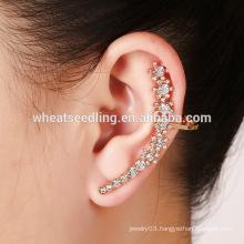 hot sale trendy ear cuff charm diamond floral fashion rose shaped earrings