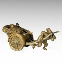 Oststatue Traditionelle Jinricksha Bronze Skulptur Tple - 004