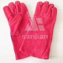 Rosa Spaltleder Ab / Bc Grade Schweißschutzhandschuh mit CE
