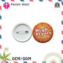 Emblemas plásticos do Pin da lata do metal da parte inferior relativa à promoção do presente do negócio