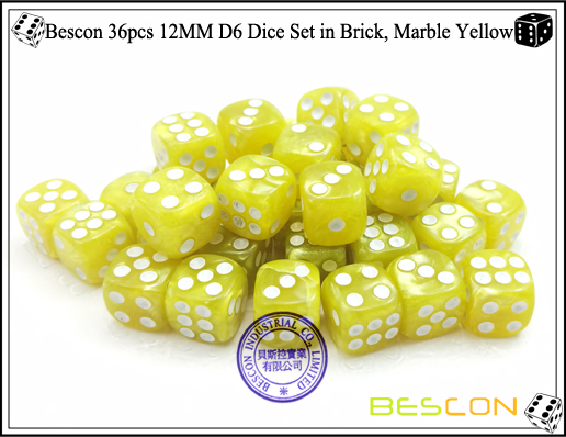 Bescon 36pcs 12MM D6 Dice Set in Brick, Marble Yellow-5