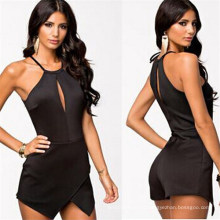 Latest Sexy Backless Black Playsuits Halter Jumpsuits for Women