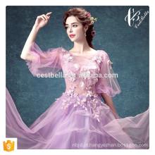 Lace Appliqued Ball Gown Designs 2016 Long Floor Length Vestidos de noiva formal Violet Wedding Gown