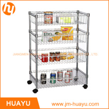 600*350*1200 mm, 3-Tier Wire Rack 4 Baskets Wire Display Rack with Casters
