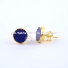 Blue Lapis Round Flat Gemstone Stud Pendientes, oro plateado 925 Sterling Silver Stud Earring Jewelry Fabricante