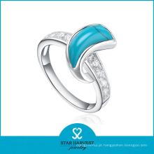 Anéis semi-preciosos elegantes da jóia da turquesa da qualidade (r-0303)