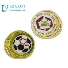 High quality personalized custom metal double sided hard enamel gold plated sport football challenge coin for souvenir