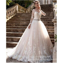 Vestido de noiva Escarpado Tulle espalda encaje Appliques vestidos de novia Bead Belt novia vestidos Boda vestidos de boda de manga larga CWF2450