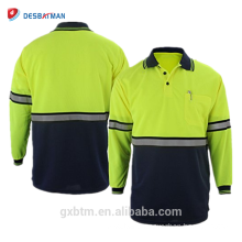 Guaranteed Quality Hi Vis Reflective Polo Shirts Two Tone Long Sleeve Safety Men High Visibility Shirt with Pen Pocket