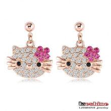 Cute CZ Crystal Cat Earrings pour les filles 3colors (ER0109)