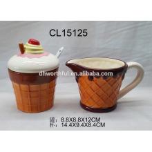 Creative ice cream shaped ceramic sugar and creamer set for wholesale