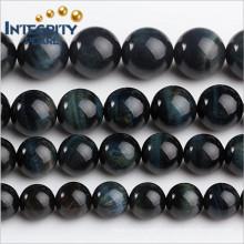 DIY Gemstone Loose Beads Size 6 8 10 12 14 16mm Stone Strand Natural Blue Tiger Eye