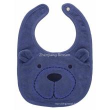 Promotional Customized Logo Printed Cartoon Bear Applique Bib Apron Water Resistant Baby Bib