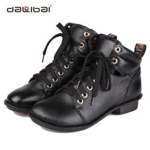 women fashion leather low heel sexy rubber winter boots