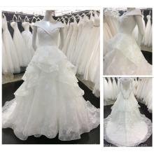 2016 Neuer Art-europäischer moderner V Ansatz weg vom Schulter-Schicht-Rock-Brautkleid-Spitze-Hochzeits-Kleid A018