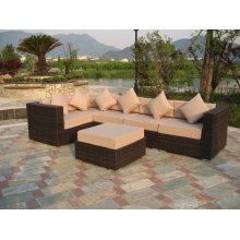 Sofá de mimbre moderna de diseño más reciente muebles de jardín