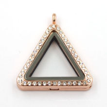 33mm Rose Gold Triangle Jewelry Living Magnetic Glass Locket Necklace