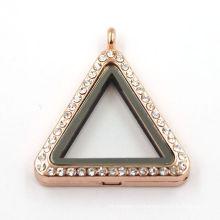 33мм розовое золото треугольник ювелирные изделия живые магнитные ожерелье ожерелье из стекла