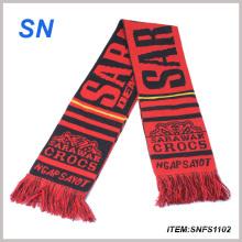 2015yiwu Factory New Custom Jacruard Printing Scarf Football Scarf Fan Scarf