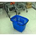 Suzhou Yuanda Factory Price Supermarket Plastic Large Rolling Shopping Basket with Long Handle