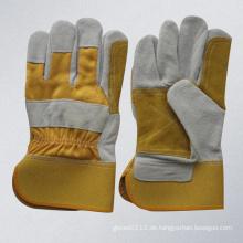 Gelb Kuh Split Leder Doppel Palm Leder Handschuh (3060.01)