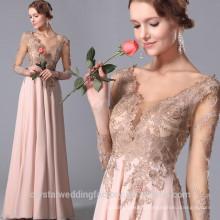 Wholesale Good Quality New Cheap Lace formal Long Sleeve Beach Long Bridesmaid Evening Dress LB45