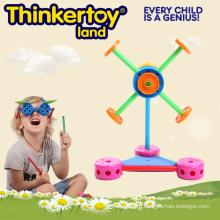 Пластиковая ветряная мельница для строительства детских игрушек для детских садов